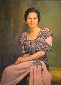 portrait of bertha isabel schalk wearing a terno by fernando cueto amorsolo