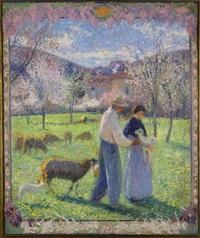 amoureux au printemps, version avec cadre fleuri by henri martin