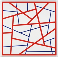 straight lines #18 (red-blue) by cary smith
