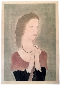 femme au châle rouge by léonard tsuguharu foujita