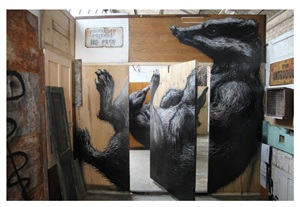 london badger installation by roa