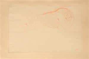 liegender, weiblicher akt (rotstift). lying, female nude (red pencil). by gustav klimt