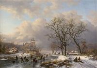 winter landscape by frederik marinus kruseman