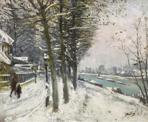 promenade en bord de rivière sous la neige by pierre eugène montézin