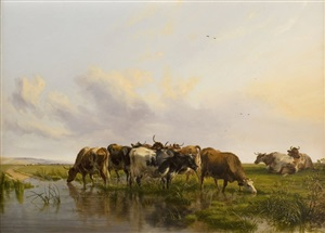 cattle in canterbury meadows by thomas sidney cooper