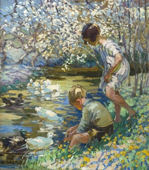 children playing beside a stream by dorothea sharp