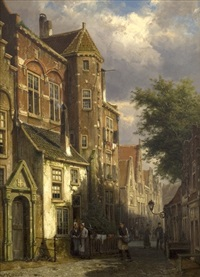 street scene in a dutch town by willem koekkoek