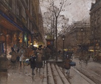 les grands boulevards, paris by eugène galien-laloue
