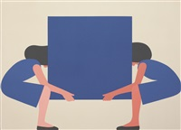 girl lifting abstraction by geoff mcfetridge