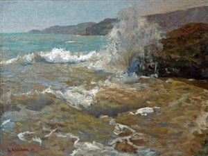 breakers on italian coast by gustav schönleber