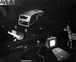 abandoned car with dog and tv by anton van dalen