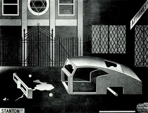 night synagogue and stripped car by anton van dalen
