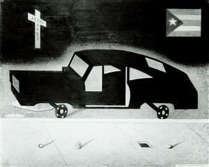 car, jesus saves and p.r. flag by anton van dalen