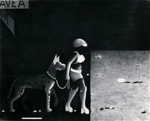 street woman with dog by anton van dalen