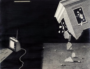 falling house and tv by anton van dalen