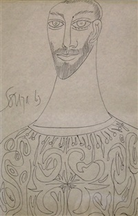 untitled (portrait of a bearded man) by francis newton souza