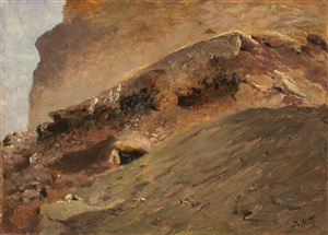 streams of lava, mount vesuvius by giuseppe de nittis