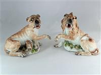 meissen pair of lions by johann joachim kändler