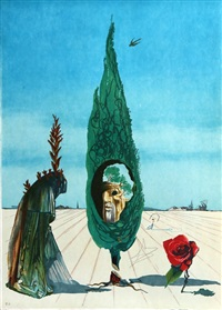 enigma of the rose (death) from visions surrealiste by salvador dalí