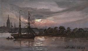 moonlight over the river oder at swinemünde, dresden by johan christian clausen dahl