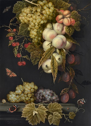 ein fruchtgehänge mit insekten /<br>a garland of fruit encircled by insects by ottmar elliger the elder