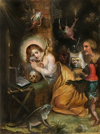 die heilige maria magdalena im gebet umgeben von den sieben todsünden /<br>the penitent mary magdalene visited by the seven deadly sins by frans francken the younger