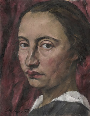 self-portrait before a red curtain by lotte laserstein