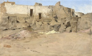 a group of houses near banha el-'asal, egypt by carl leopold müller