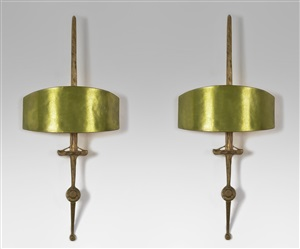 "paire d'appliques ""epée"" / pair of gilt bronze wall-lights called ""sword"" by felix agostini"