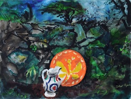 jug and plate in a landscape by john piper