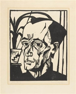bildnis e.h.(portait of e.h. - portrait d'e.h.) by erich heckel