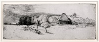 landscape with trees, farm buildings, and a tower by rembrandt van rijn