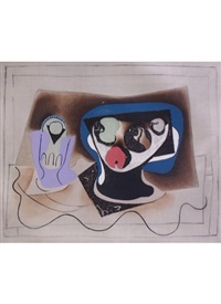 composition with glass and fruit bowl by pablo picasso