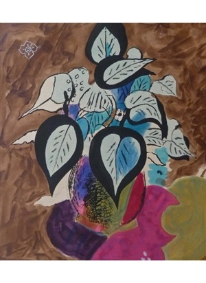 foliage in colour (les fleurs) by georges braque