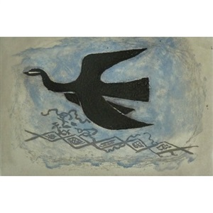 the black bird on blue background (bird viii) by georges braque