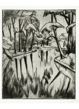 lake at the park by erich heckel