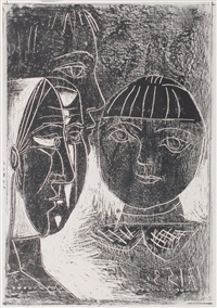 la famille (the family - a study of françoise with the children paloma and claude) by pablo picasso