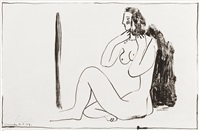 petit nu assis au miroir (nude girl seated in front of a mirror) by pablo picasso