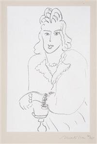 femme au col d'organdie – portrait de lydia by henri matisse