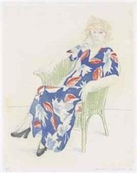 celia in a wicker chair by david hockney