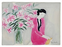 young woman with bouquet by andré brasilier