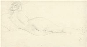 femme nue couchée de dos sur un canapé by félix edouard vallotton