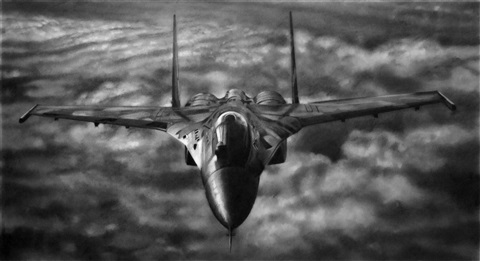 study for russian mig frontal by robert longo