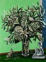 flowers and sculpture winter by david bates