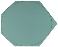 distorted circle within a polygon (grey-green) by robert mangold