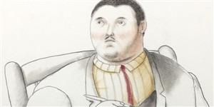 seated man (detail) by fernando botero