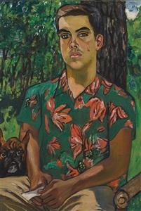 richard with dog by alice neel