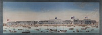 the hongs (or factories) at canton (guangzhou): an exceptionally large panoramic scroll by chinese school