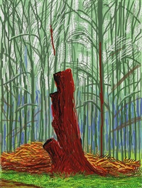 the arrival of spring in woldgate, east yorkshire in 2011 (twenty eleven) - 25 february 2011 by david hockney
