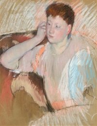 clarissa, with her hand to her ear, turned left by mary cassatt